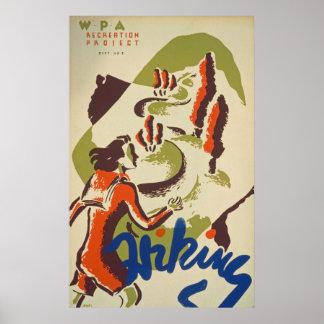 Poster vintage de sport de randonnée