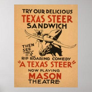 Poster vintage de théâtre de boeuf du Texas