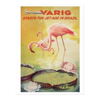Poster vintage de Varig pour la carte postale du