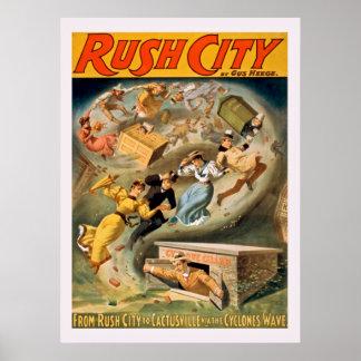Poster vintage de ville de précipitation
