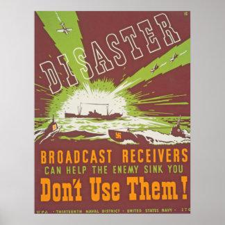 Poster vintage d'émission de catastrophe - ne les