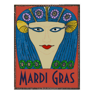 Poster Visage de femme de mardi gras