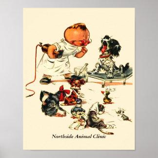 Poster Visite vétérinaire vintage au vétérinaire