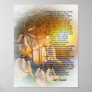 """Poster """"Vivent coucher du soleil de Tecumseh Dreamcatcher"""