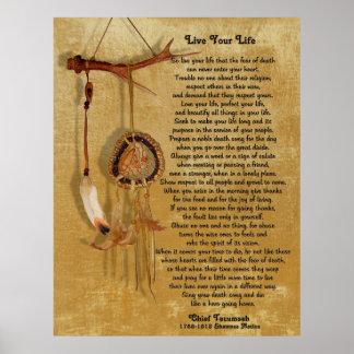 """Poster """"Vivent votre vie"""", Tecumseh en chef avec le"""