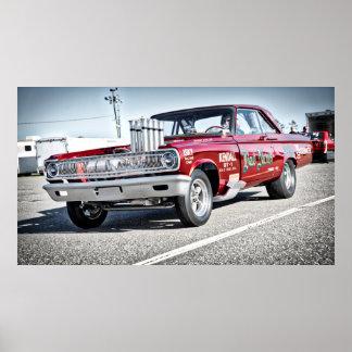 Poster Voiture de course de dragsters de 1965 Dodge