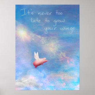 Poster Voler Porc-Élèvent vos ailes
