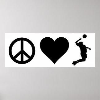 Poster Volleyball d'amour de paix (mâle)