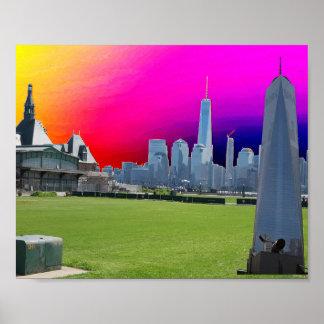 Poster Voyage à la tour de liberté de New York Manhattan