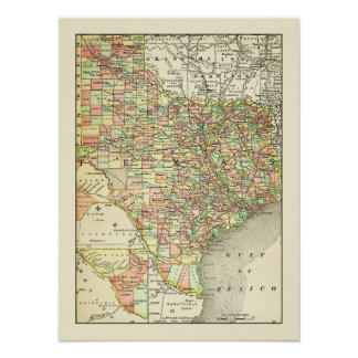 Poster Voyage antique de villes et de comtés de carte du