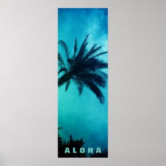 Poster Voyage bleu de tropiques de palmiers d'Hawaï de