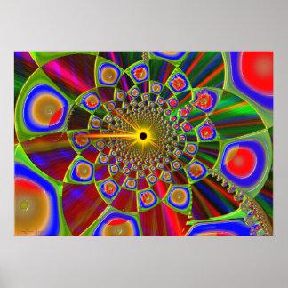 Poster Voyage dans l'optique 3d psychédélique