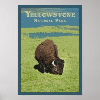 Poster Voyage de bison de parc national de Yellowstone
