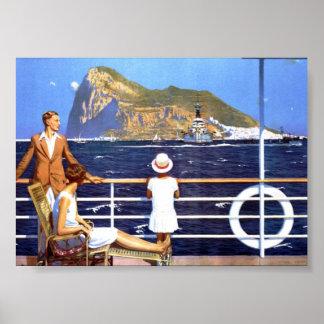 Poster Voyage de croisière d'océan de mer au cru du