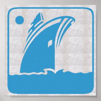 Poster Voyage graphique de voile de mer de vacances de