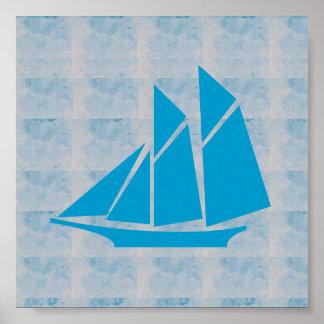 Poster VOYAGE graphique du BATEAU À VOILE de mer de JEU