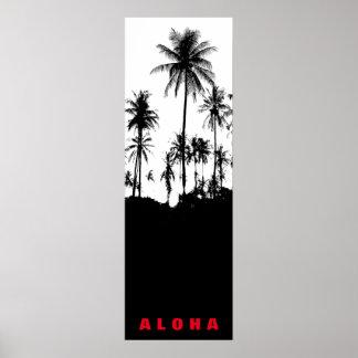 Poster Voyage noir de tropiques de palmiers d'Hawaï de