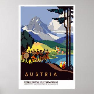 Poster Voyage vintage d'Alpes de l'Autriche