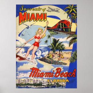 Poster Voyage vintage de Miami Beach la Floride