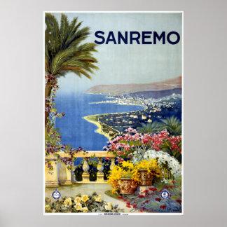 Poster Voyage vintage de San Remo Italie