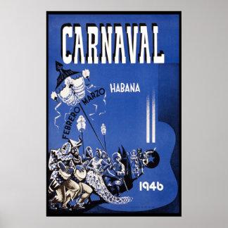 Poster Voyage vintage du carnaval 1946 de La Havane
