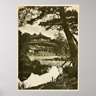 Poster Voyage vintage du Japon de temple bouddhiste de