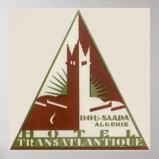 Poster Voyage vintage, hôtel de transport Atlantique,