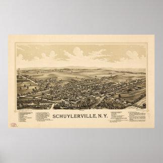 Poster Vue aérienne de Schuylerville, New York (1889)