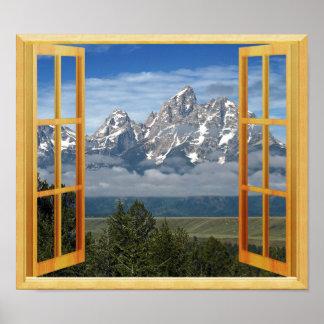 Poster Vue de fenêtre de Faux de dessus de neige de