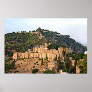 Poster Vue de la forteresse d'Alcazaba à Malaga