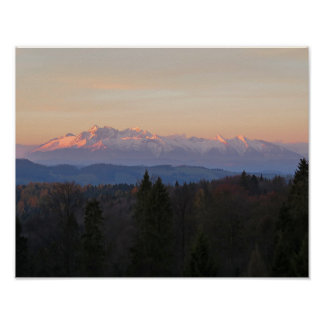 Poster Vue de Tatras de lever de soleil de Beskids