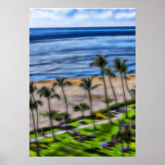 Poster Vue Maui, plage Hawaï de plage de Ka'anapali
