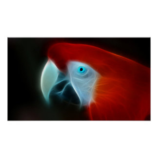 Poster Yeux bleus rouges de perroquet de fractale