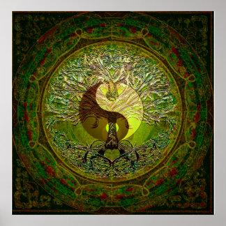 Poster Yin vert Yang avec l'arbre de la vie