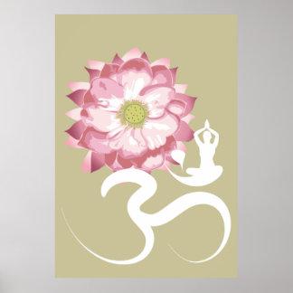 Poster Yoga et affiche blanche rose de chant religieux de