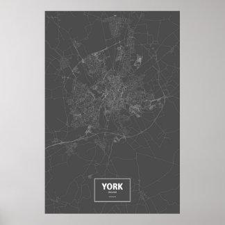 Poster York, Angleterre (blanche sur le noir)