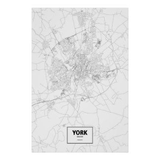 Poster York, Angleterre (noir sur le blanc)