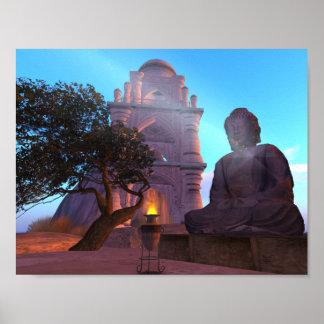 """Poster Zen 11"""" de temple de Bouddha x 8,5"""" papier"""