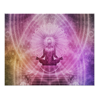 Poster Zen spirituel de méditation de yoga coloré