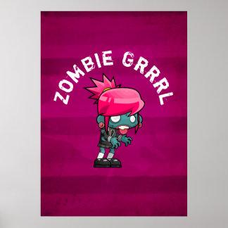 Poster Zombi mignon Grrrl de punk rock