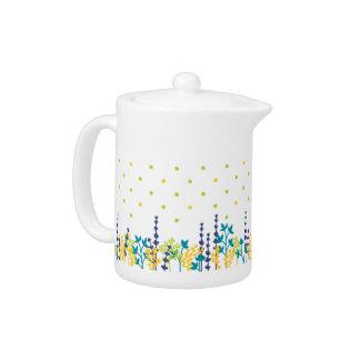 Pot adorable de thé de frontière de feuille de