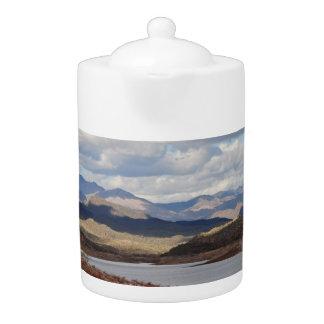 Pot agréable de thé de paysage de lac