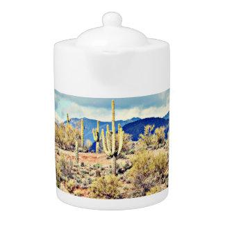 Pot agréable de thé de paysage de Saguaro de lac