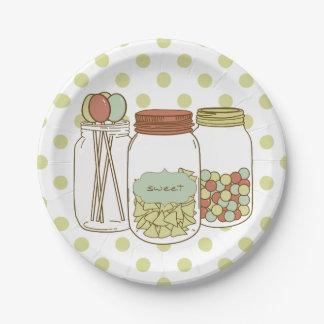 pot de maçon doux et plaques à papier de sucrerie assiettes en papier