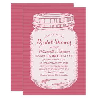 Pot de maçon rose vintage de douche nuptiale carton d'invitation  12,7 cm x 17,78 cm