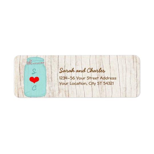 Pot de maçon rustique sur le mariage illustré par étiquette d'adresse retour
