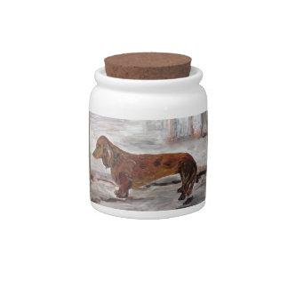 Pot de sucrerie de peinture de teckel par boîtes à bonbons