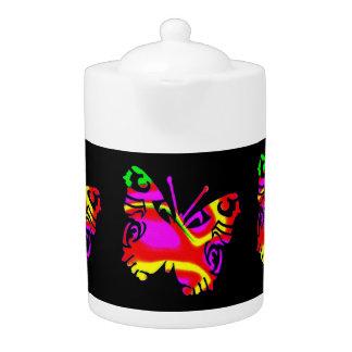 Pot de thé : Papillon coloré, fond noir
