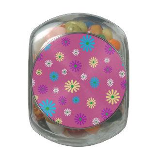 Pot floral de sucrerie de motif de popart coloré pot de bonbons jelly belly