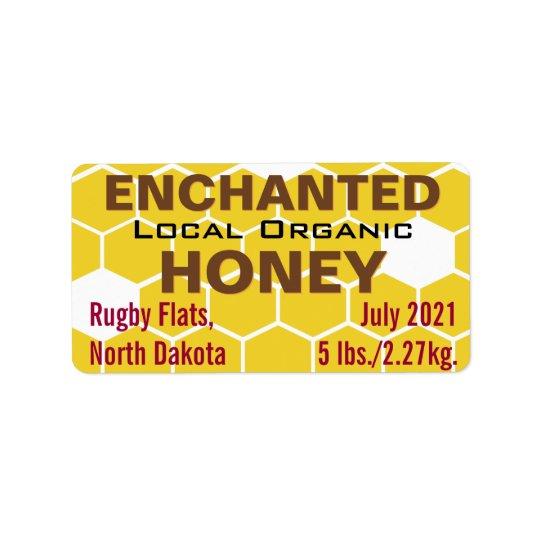 Pot organique local enchanté de miel étiquettes d'adresse